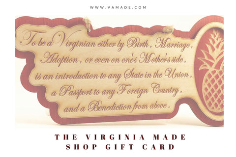 Virginia Made Shop Gift Card | www.vamade.com