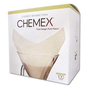 Chemex Bonded Unbleached Square Coffee Filters, 100 Count