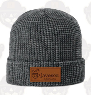 Leather Patch Beanie - Gray