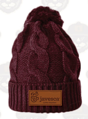 Leather Patch Beanie - Burgundy
