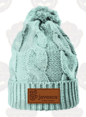 Leather Patch Beanie - SeaFoam