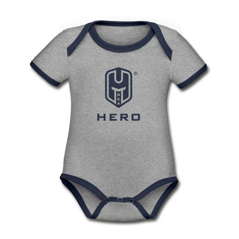 Organic Contrast Short Sleeve Baby Bodysuit - heather gray/navy