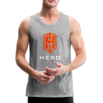 Men's Premium Tank Orange logo BEA HERO™ - heather gray