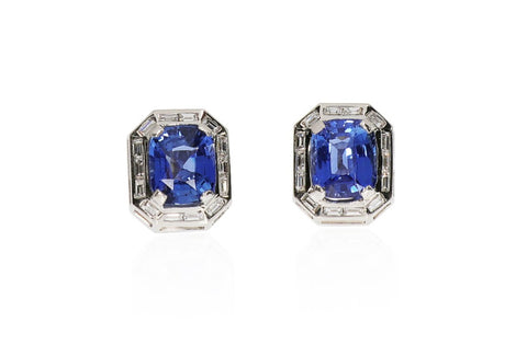 Platinum Sapphire and Diamond Earrings