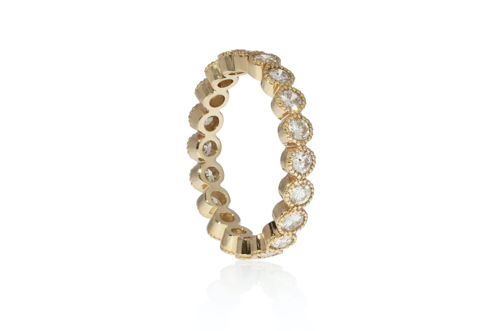 Diamond Bezel Yellow Gold Eternity Band Size 7 Ring