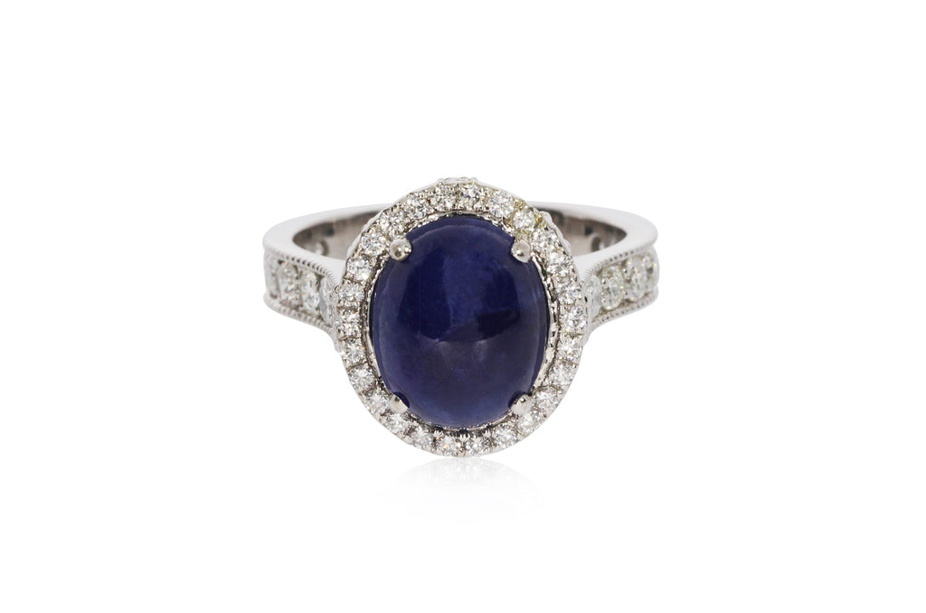 White Gold Oval Sapphire Ring