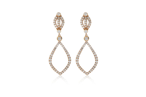Rose Gold Drop Diamond Earrings