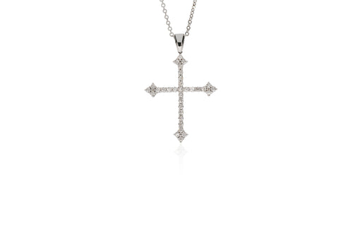 White Gold Cross 32 Stones Pendant