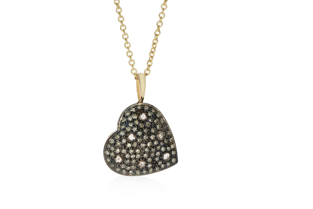 Light Brown Diamonds Heart Pendant