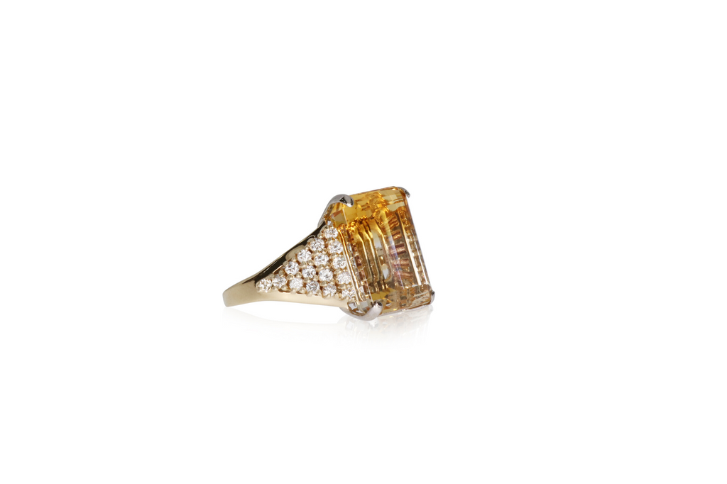 White Quartz/Citrine Ring