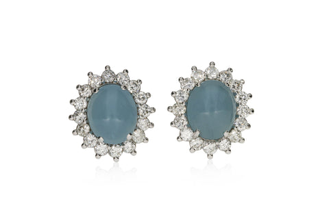 White Cluster Aqua Marine Earrings