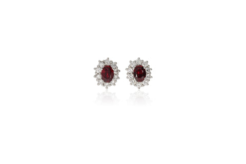CLUSTER RUBY AND DIAMOND EARRINGS