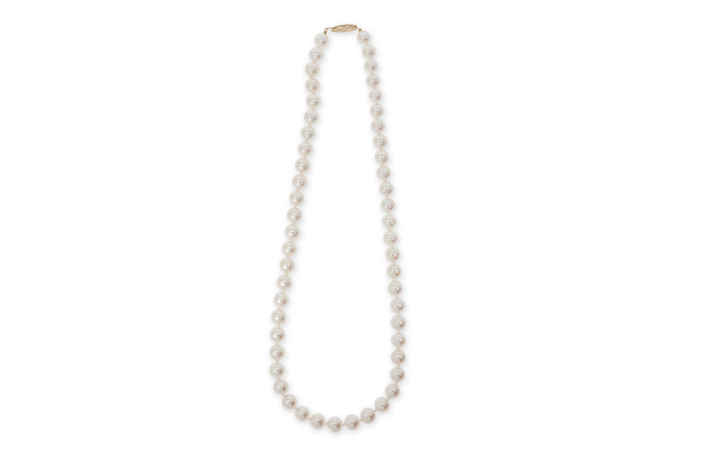 Yellow Gold Clap Pearl Necklace
