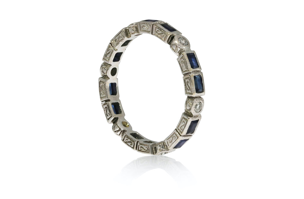 Sapphire and Diamond Bezel Set Ring