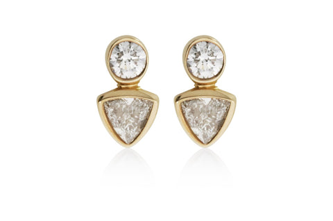 Two Stone Studs Earrings