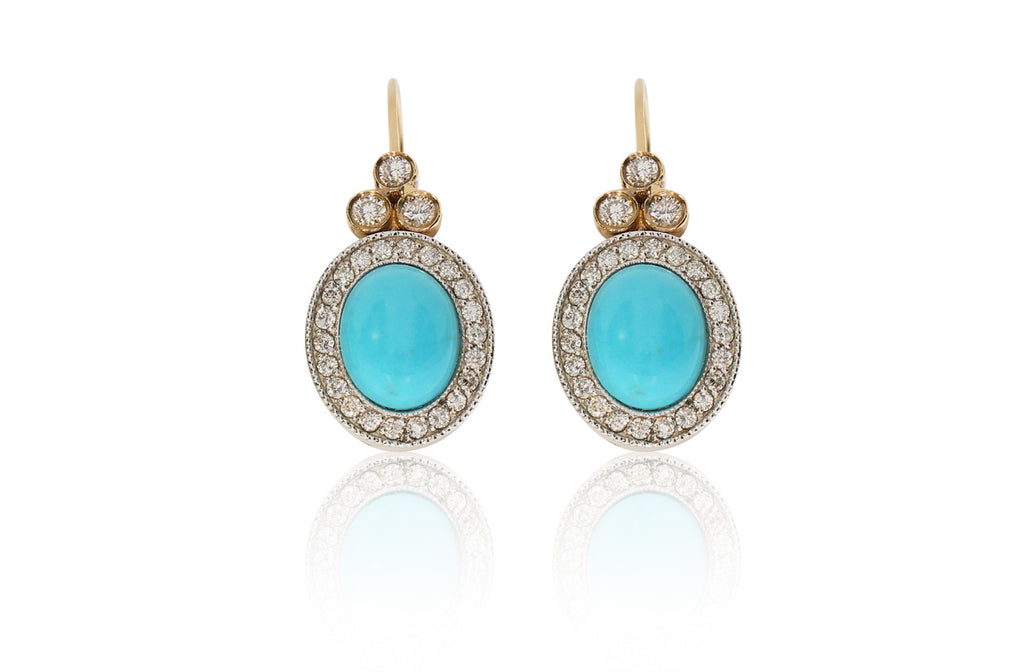 Two Tone Turquoise Earrings