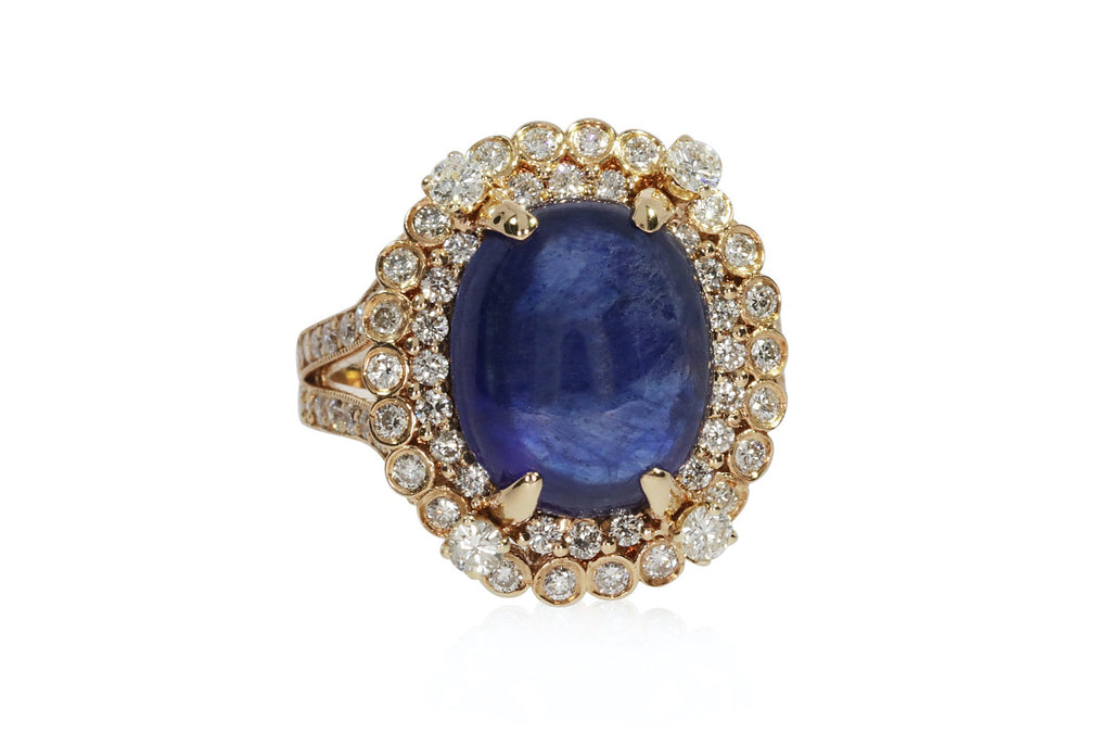 Diamond Yellow Gold Oval Sapphire Ring Size 7