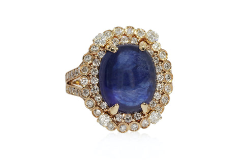 Diamond Yellow Gold Oval Sapphire Ring