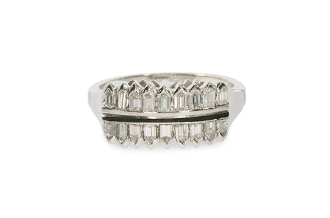 Platinum Art Deco Band Ring