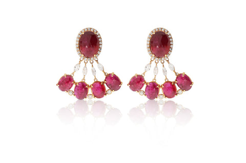 Rose Gold Oval Rubies Diamond Earrings