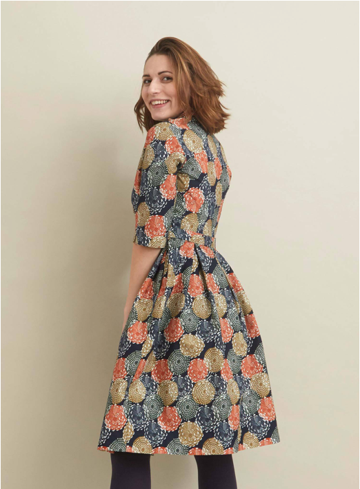 PALAVA - Ida Dress (Navy Pinecones)