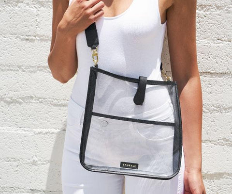 This clear crossbody bag is clear bag policy compliant and large enough to hold anything you would need on game-day.