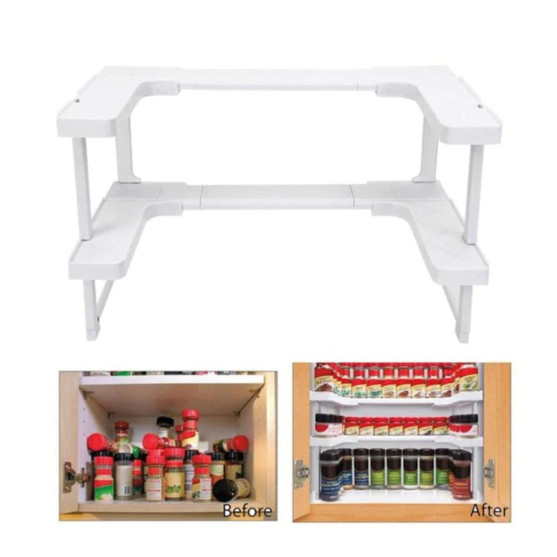 The adjustable spice rack shown on a white background, empty. 2 example pictures shown below with before and after shots of using the rack, on picture looks really messy (before) and one highly organised (after)