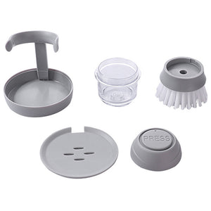Automatic Cleaning Liquid Dispenser Brush separated into five different sections on a white background