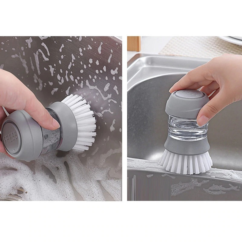the Automatic Cleaning Liquid Dispenser Brush being used to clean a sink
