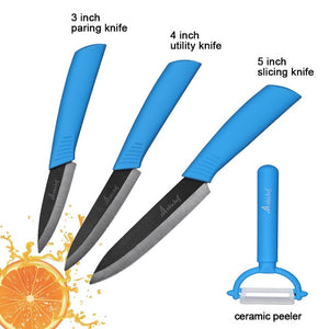 "the Ceramic Knife Cooking set 3"" 4"" 5"" 6"" inch + peeler in blue featured on white background"