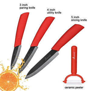 "the Ceramic Knife Cooking set 3"" 4"" 5"" 6"" inch + peeler in red featured on white background with 4 examples of what it can slice"