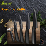 "Ceramic Knife Cooking set 3"" 4"" 5"" 6"" inch + peeler in black featured on a chopping board"