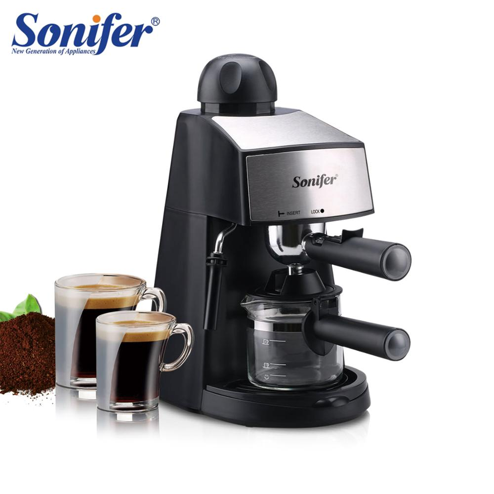 THE 240 semi-automatic espresso machine by sonifer featured on a white background, two small coffees placed on the left side of machine