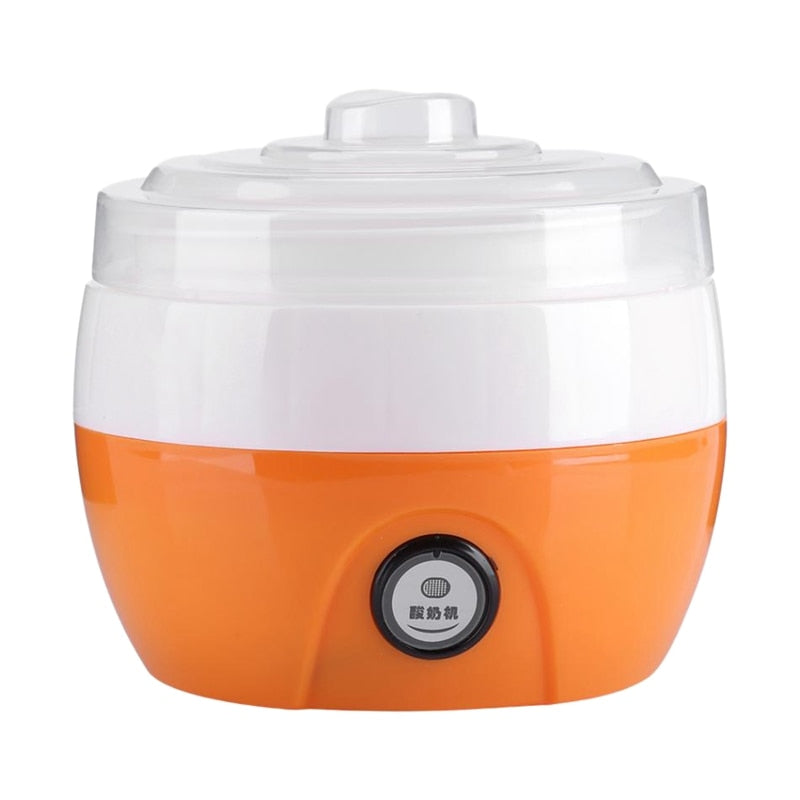 the automatic yogurt maker featured in white and orange on a white background