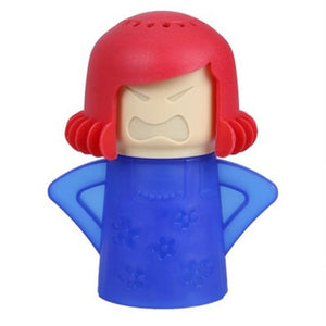 the angry mama microwave cleaner featured on a white background in blue with red hair