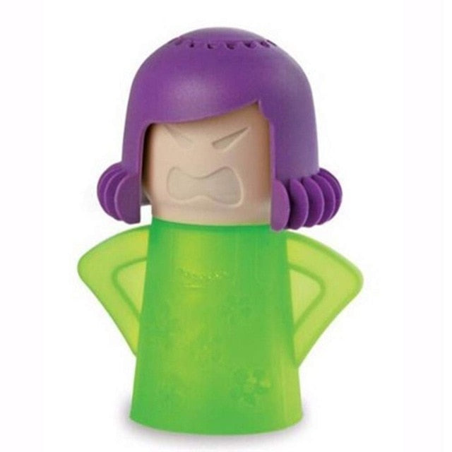 the angry mama featured on a white background in green with purple hair