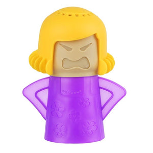 angry mama on white background in purple with blond hair