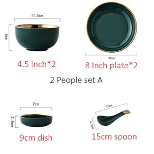 Green Ceramic Plate w/ Gold Inlays