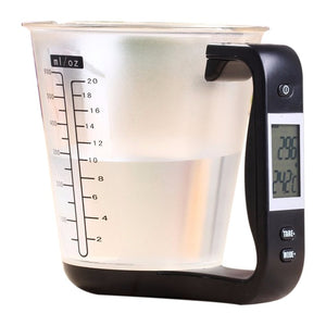 THE BEST DIGITAL MEASURING CUP FEATURED WITH BLACK HANDLE ON A WHITE BACKGROUND, THE LCD SCREEN IS DISPLAYING THE TEMPERATURE AND WEIGHT