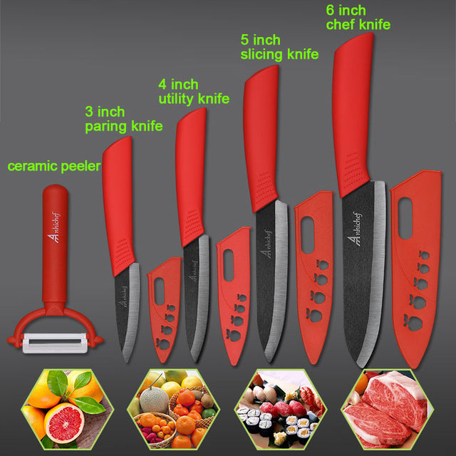 "the Ceramic Knife Cooking set 3"" 4"" 5"" 6"" inch + peeler in red featured on plain background with 4 examples of what it can slice"