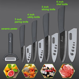 "the Ceramic Knife Cooking set 3"" 4"" 5"" 6"" inch + peeler in grey featured on plain background with 4 examples of what it can slice"