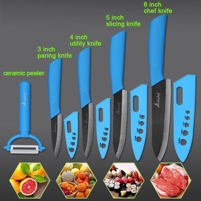 "the Ceramic Knife Cooking set 3"" 4"" 5"" 6"" inch + peeler in blue featured on plain background with 4 examples of what it can slice"