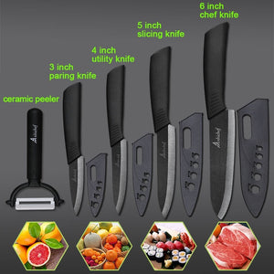 "the Ceramic Knife Cooking set 3"" 4"" 5"" 6"" inch + peeler in black featured on plain background with 4 examples of what it can slice"
