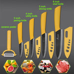 "the Ceramic Knife Cooking set 3"" 4"" 5"" 6"" inch + peeler in yellow featured on plain background with 4 examples of what it can slice"