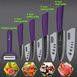 "the Ceramic Knife Cooking set 3"" 4"" 5"" 6"" inch + peeler in purple featured on plain background with 4 examples of what it can slice"
