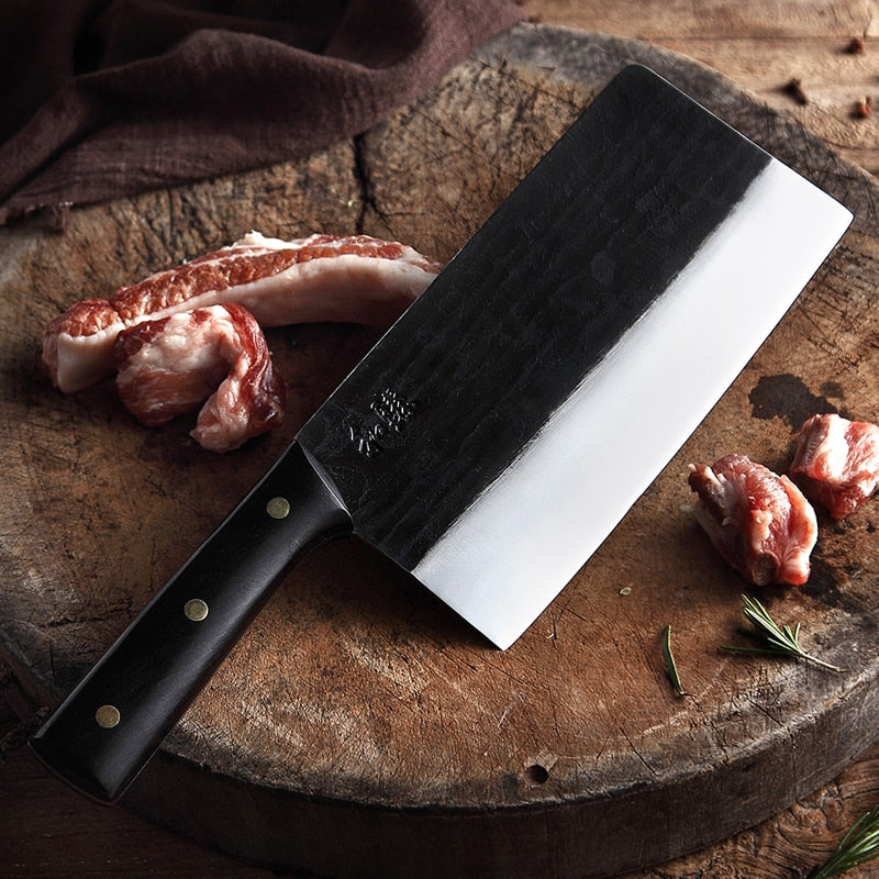 HEZHEN Kitchen Knife Pro Butcher's Knives Handmade Forged X5Cr15MoV High Carbon Clad Steel Bone Cleaver Meat Knife Full Tang
