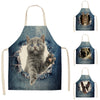 four diffrent designs on cat and dog aprons featured on a white background