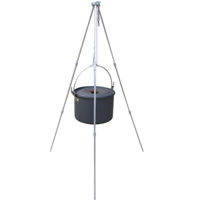 Outdoor camping equipment Fire Triangle Bracket Picnic BBQ Cooking Tripod Pot Hanging Camping Stove Grill Stand Holder