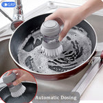 the Automatic Cleaning Liquid Dispenser Brush being used to wash a frying pan over a sink