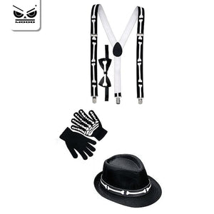 Set accessori vestito scheletro adulto, cappello, bretelle, guanti, papillon